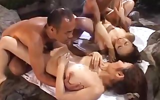 Japanese 4+4 orgy roughly an onsen
